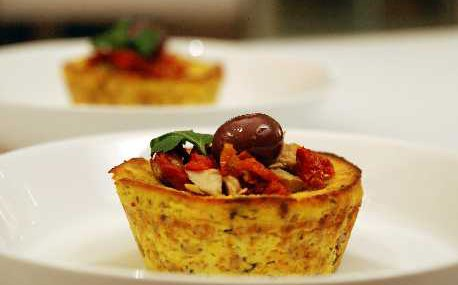 Savoury cupcake with ricotta, grilled artichoke, sundried tomato and saffron