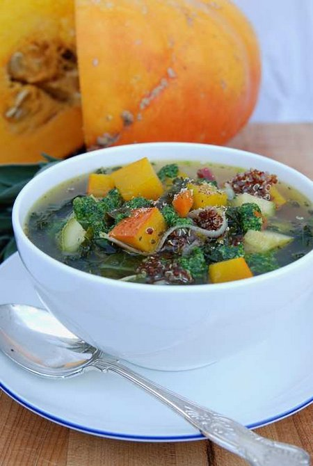Autumn Minestrone with Quinoa and Rocket Pesto