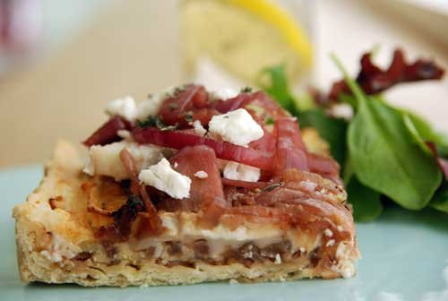 Goat's cheese and caramelised red onion savoury tart