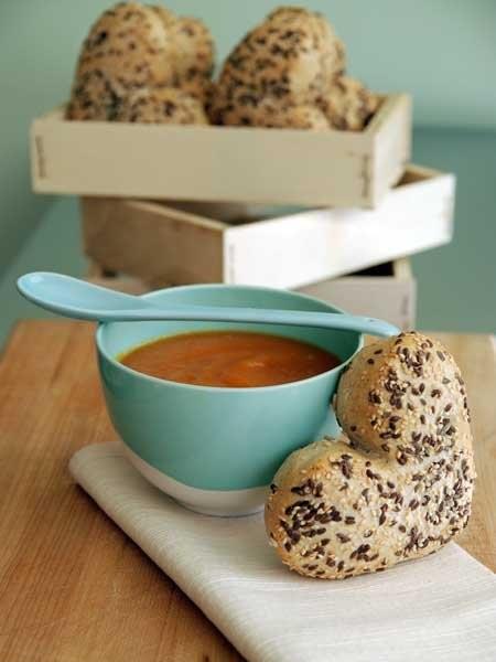 Homemade millefiori honey and carrot soup