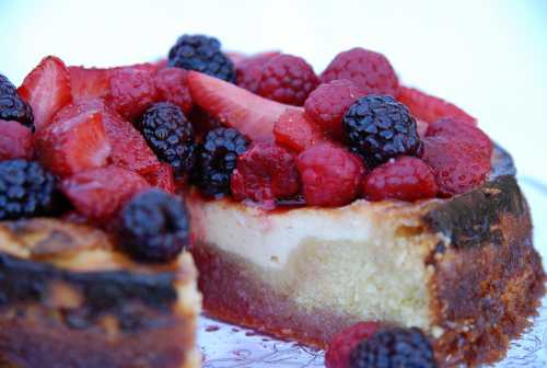 Ricotta And Almond Cake With Vanilla Honey And Very Berry Syrup