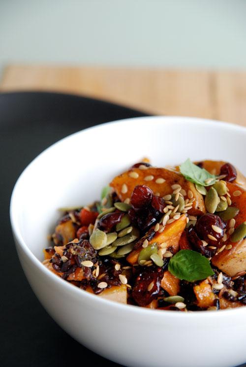 Superfood salad with black rice, butternut squash, sweet potato, cranberries, goji berries, sunflower and pumpkin seeds
