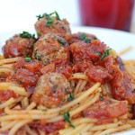Corn Spaghetti with Lamb, Garlic and Parsley Meatballs