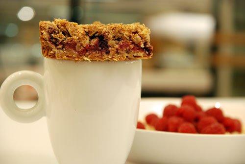 Vanilla, raspberry and acacia honey oat slice
