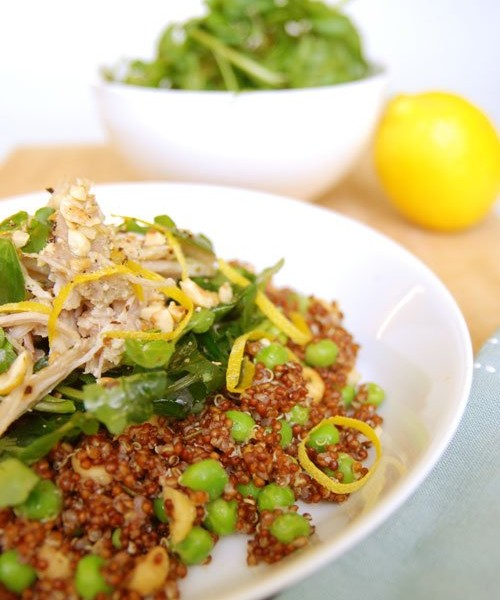Red quinoa and poached chicken salad with roasted hazelnut, peas, watercress and lemon oil dressing