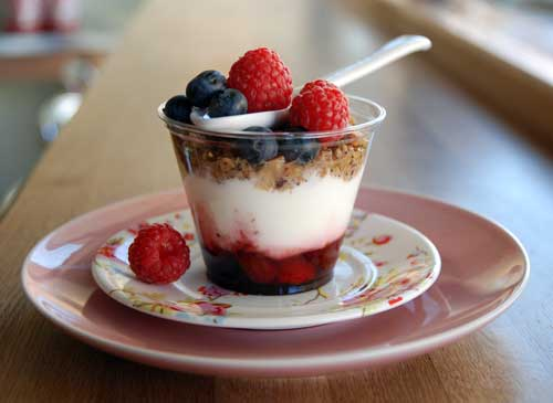 Organic natural yoghurt with fruits of the forest and homemade honey granola